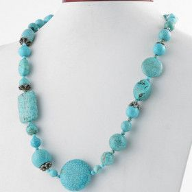 "20"" Created Turquoise Necklace"
