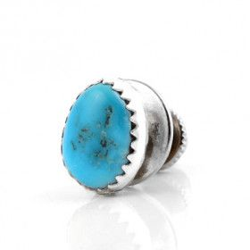 Real Turquoise Silver Tie Pin