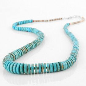 Long Heishi Beads Turquoise Necklace