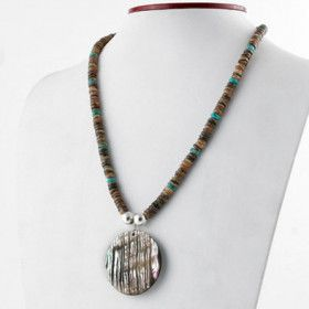 Turquoise Beads with Abalone Pendant