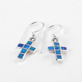 Create Blue Opal Cross Earrings