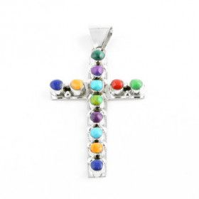 Southwestern Gemstone and Silver Cross Pendant