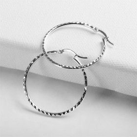 Faceted Sterling Silver Hoop Earrings