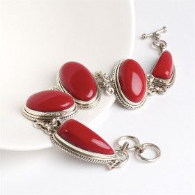 Red Coral & Silver Toggle Bracelet