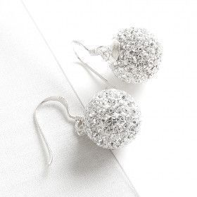 Pavé Crystals Disco Ball Hook Earrings