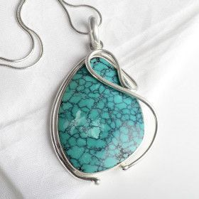 Turquoise in Silver Swirls Pendant