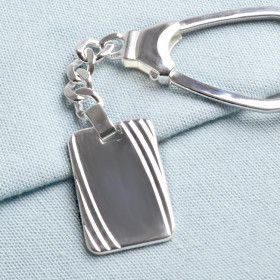 Sterling Silver Keychain with Dog Tag