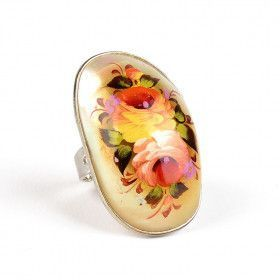 Zhostovo Mother of Pearl Ring
