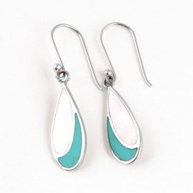 Iridescence & Turquoise Stone Earrings