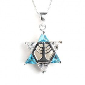 Blue & White Star of David Pendant