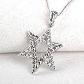 Stylized Silver Star of David Pendant