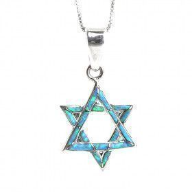 Opal Star of David Pendant
