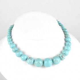 Man Made Turquoise Beaded Necklace