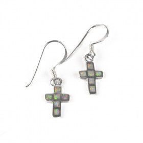 Opal Inlay Cross Earrings
