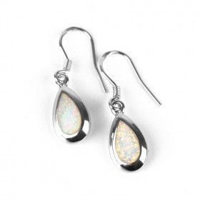 Tiny Opal Silver Drop Earrings