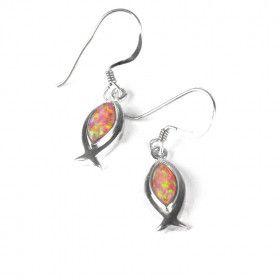Pink Opal Jesus Fish Earrings