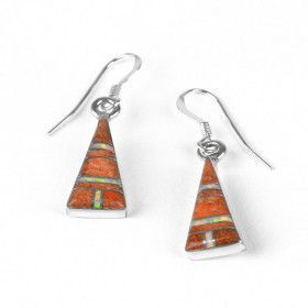 Spiny Oyster & Opal Triangle Earrings