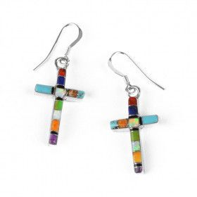 Colorful Cross Earrings