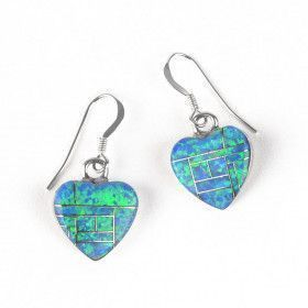 Opal Inlay Heart Earrings
