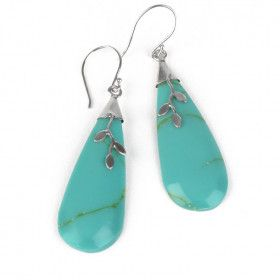Created Turquoise Drop Earrings
