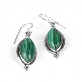 Malachite in Silver Earrings
