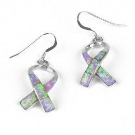 Opal Breast Cancer Ribbon Earrings