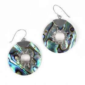 Abalone Shell Circle Earrings