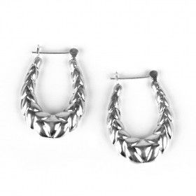 Fancy Hollow Sterling Silver Earrings