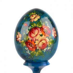 Blue Hand Painted Floral Egg