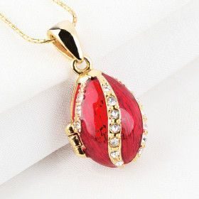 Crystal Swirls Red Faberge Egg Locket