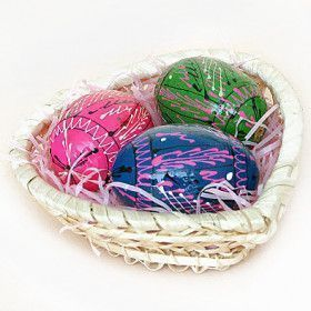 Basket with Easter Pisanki Eggs