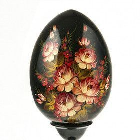 Black Floral Wooden Egg