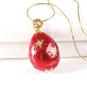 Red Faberge Egg Pendant