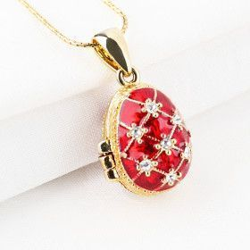 Red Faberge Egg Locket with Angel