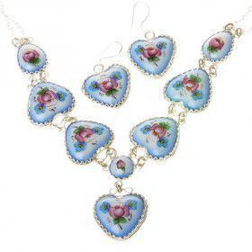 Heart Shaped Finift Jewelry Set