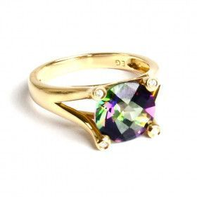 Solitaire Mystic Topaz Gold Ring