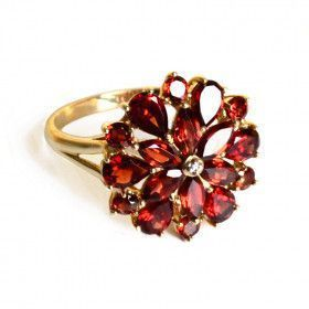 Garnet Flower Ring Size 12