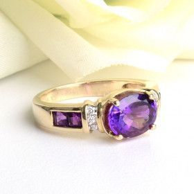 Amethyst Ring - 14K Gold