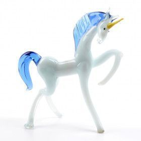 White Glass Unicorn Figurine with Blue Mane