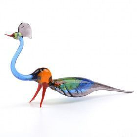 Colorful Glass Peacock Figurine