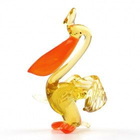 Orange Beak Pelican Glass Figurine