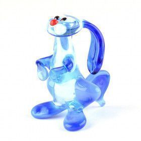 Blue Rabbit Bunny Glass Figurine