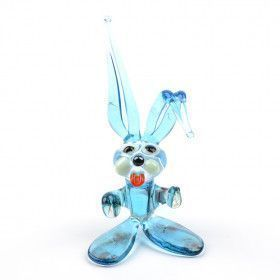 Blue Easter Bunny Glass Figurine