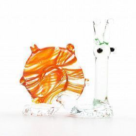 Orange Snail Glass Figurine