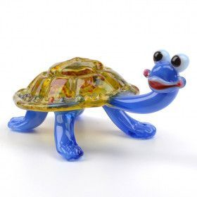 Smiley Turtle Glass Figurine