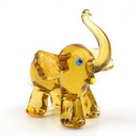Cheerful Elephant Glass Figurine