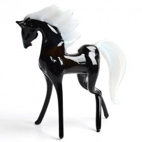 Black Horse Glass Figurine