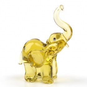 Glass Figurine of Happy Elephant