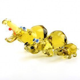 Happy Glass Hippo Family