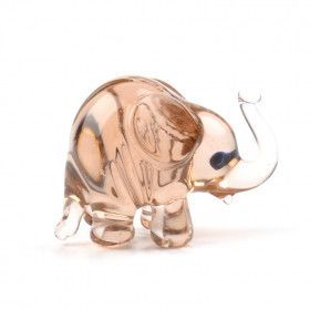 Mini Pink Elephant Glass Figurine